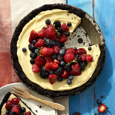 Mixed Berry Cream Pie with Double Chocolate Crust - Summer Cookout Menu - Coastal Living