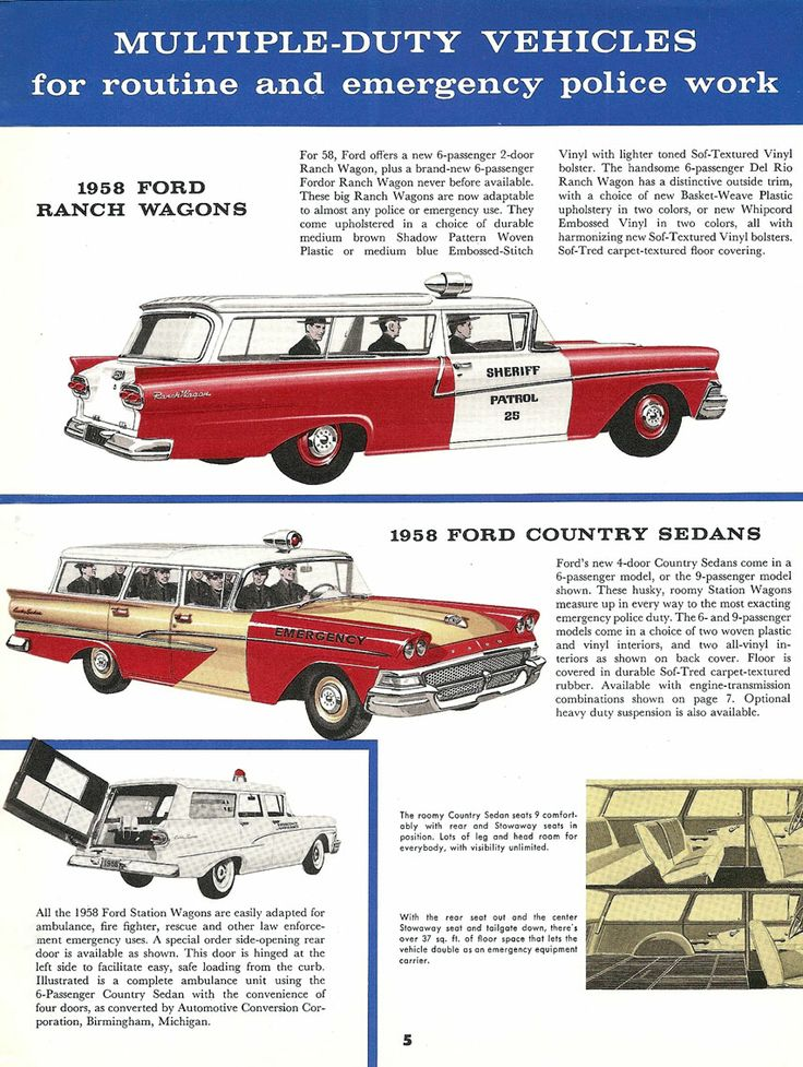 1958 Ford Police Cars & Emergency Vehicles #50s #police