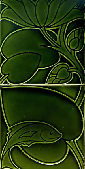 Voysey designed antique ceramic wall tiles made by Pilkingtons.
