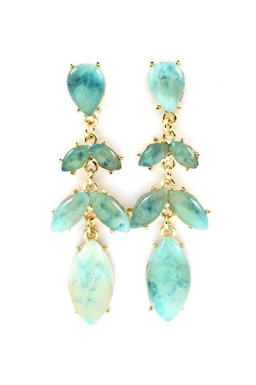 Water Blue Lucite Marquise Earrings