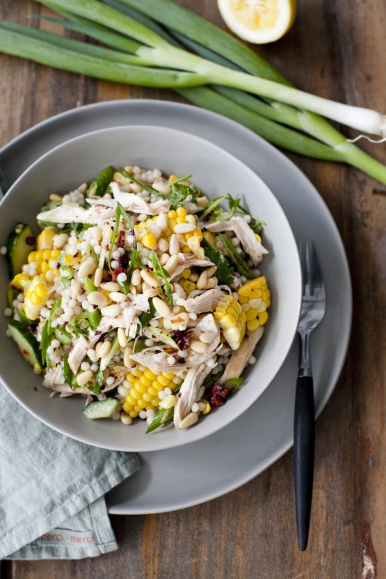 Corn, Chicken and Sundried Tomato Israeli Couscous Salad by Nadia Lim   NadiaLim.com
