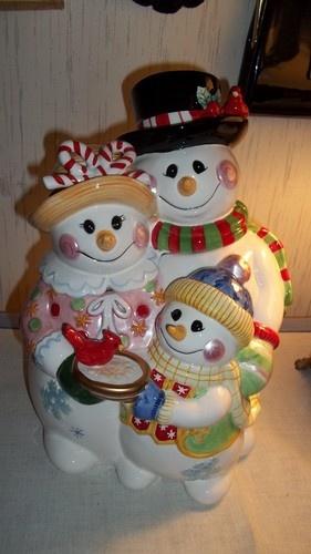 "Fitz Floyd ""Frosty Friends"" Cookie Jar Snowman Holidays Christmas"