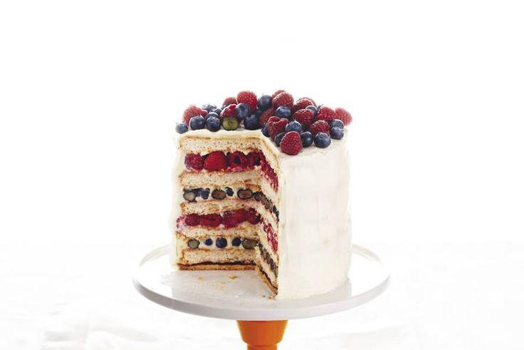 Kijk wat een lekker recept ik heb gevonden op Allerhande! Rood-wit-blauw-taart