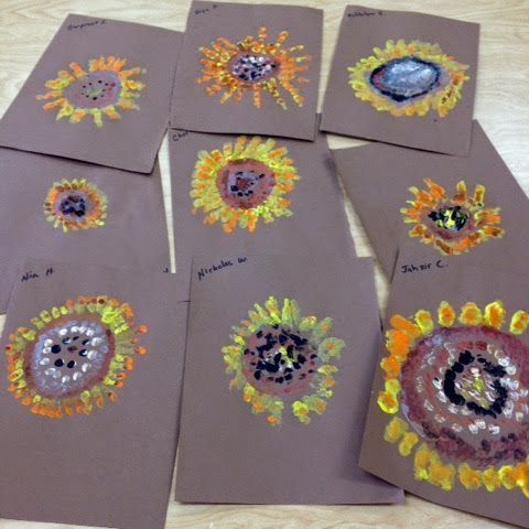 Painting Sunflowers 1st Grade Collaborative Art Each child drew one sunflower and painted it with a dabbing technique to repres...