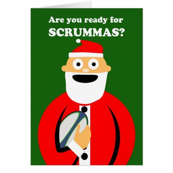 Scrummas Christmas Rugby Sports Theme Santa Card #cards #christmascard #holiday