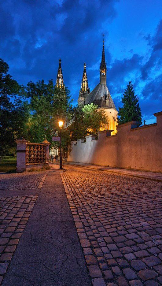 St.Peter and Paul cathedral at Vyšehrad, Prague, Czechia Prague #prague #czechia #night #city