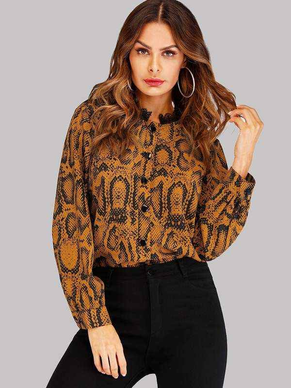 2e58ca8706f4d Snake Print Contrast Lace Blouse in 2019
