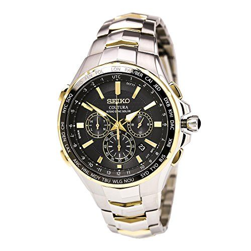 Seiko Coutura Radio Sync Solar Chronograph Two Tone Mens Watch SSG010 ** This is an Amazon Associate's Pin. Check this awesome product by going to the link at the image.