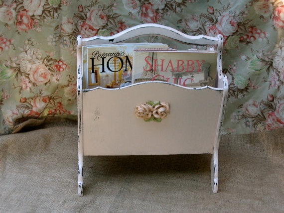 Shabby Chic Pink Magazine Rack- Double Compartment - Book Stand ...