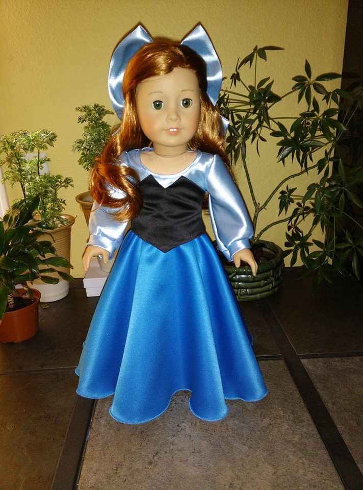 "Ariel (Little Mermaid) blue dress and bow for American Girl and 18"" Dolls."