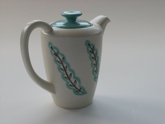 Pretty Poole coffee pot  white with aqua lid in by Tourelle, $70.00