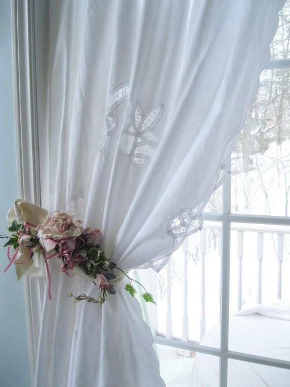Battenburg Lace Curtain Shower Romantic Home Shabby French Country By Mailordervintage On Etsy Curtains Homes