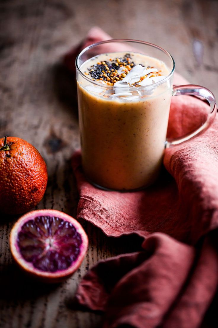 Mango, Blood Orange & Coconut Smoothie with Chia Seeds & Bee Pollen - made by mary - food photography & sweet treats