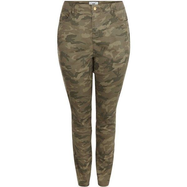 New Look Curves Khaki Camo Print Skinny Jeans ($30) ❤ liked on Polyvore featuring jeans, khaki, camouflage skinny jeans, print skinny jeans, khaki jeans, camo print skinny jeans and skinny jeans