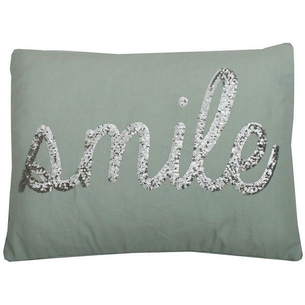 Grey Sequin Throw Pillow : Thro by Marlo Lorenz Smile Sequin Throw Pillow, Grey (USD44) liked on Polyvore featuring home ...