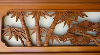 Japanese ranma, handcarved wood transom, at www.Jtansu.com. Want this for a headboard!