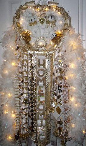Melz Mumz MEGA Triple Homecoming Mum Senior Gold and White Lighted Boas.  Unique custom homecoming mums made by melzmumz.com