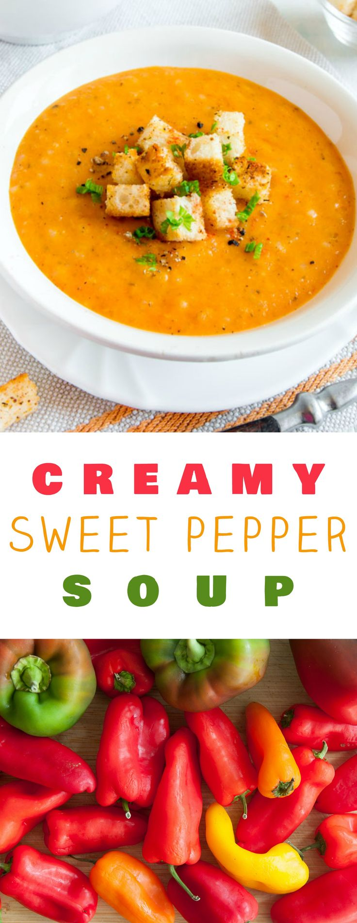 Creamy and Healthy Sweet Pepper Soup! Delicious sweet peppers are combined with chicken broth and rice to make it a dinner time favorite!  This gluten-free recipe is easy to make and can easily be turned vegetarian by using vegetable broth.  This is the p