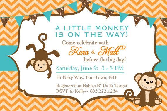Baby Shower Invitation Monkey Chevron Teal Orange Brown - Monkey Baby Shower Invite Chevron Bunting Blue Gray - Baby Shower Boy Monkey. $14.00, via Etsy.