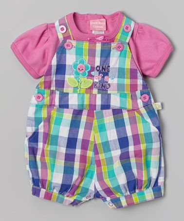 Look what I found on #zulily! Purple & Pink Plaid 'One of a Kind' Tee & Shortalls - Infant by Duck Duck Goose #zulilyfinds