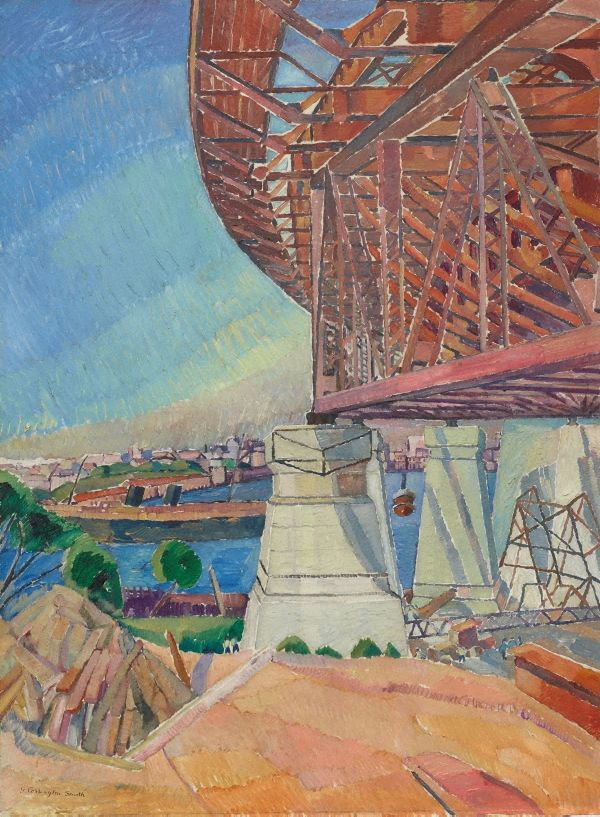 The curve of the bridge, (1928-1929) by Grace Cossington Smith :: This painting shows the massive frame-work in mid-construction, emerging from the shores of North Sydney. It reveals Grace Cossington Smith's view of the bridge as a dynamic work-in-progress. In a powerful translation of forms through colour and light, the painting radiates optimism and energy in a celebration of modern engineering and, more broadly, the modern age