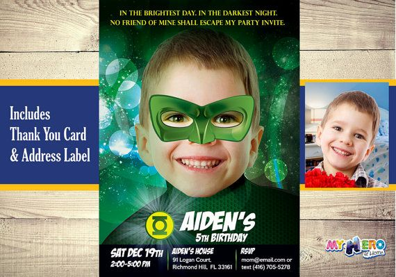 Green Lantern Invitation with your boy as the by MyHeroAtHome