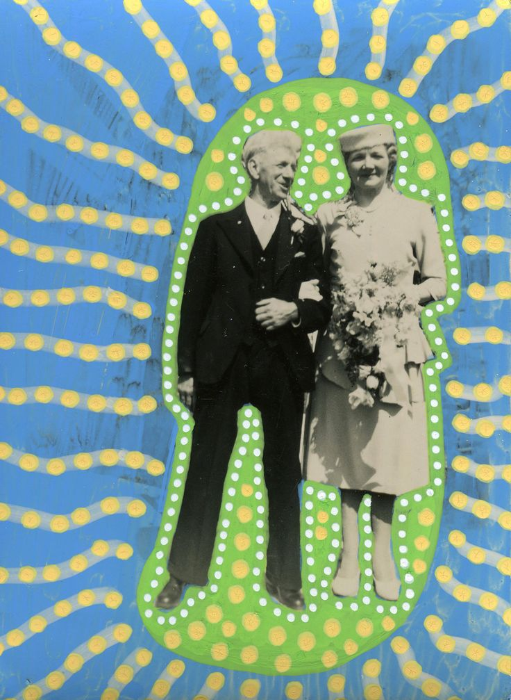 Collage Contemporano Creato Su Di Un Foto Di Coppia Vintage Felice Elegante