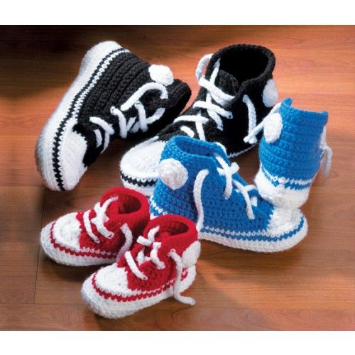 Knitting Baby Shoes : Running shoe slippers knit crochet fashion