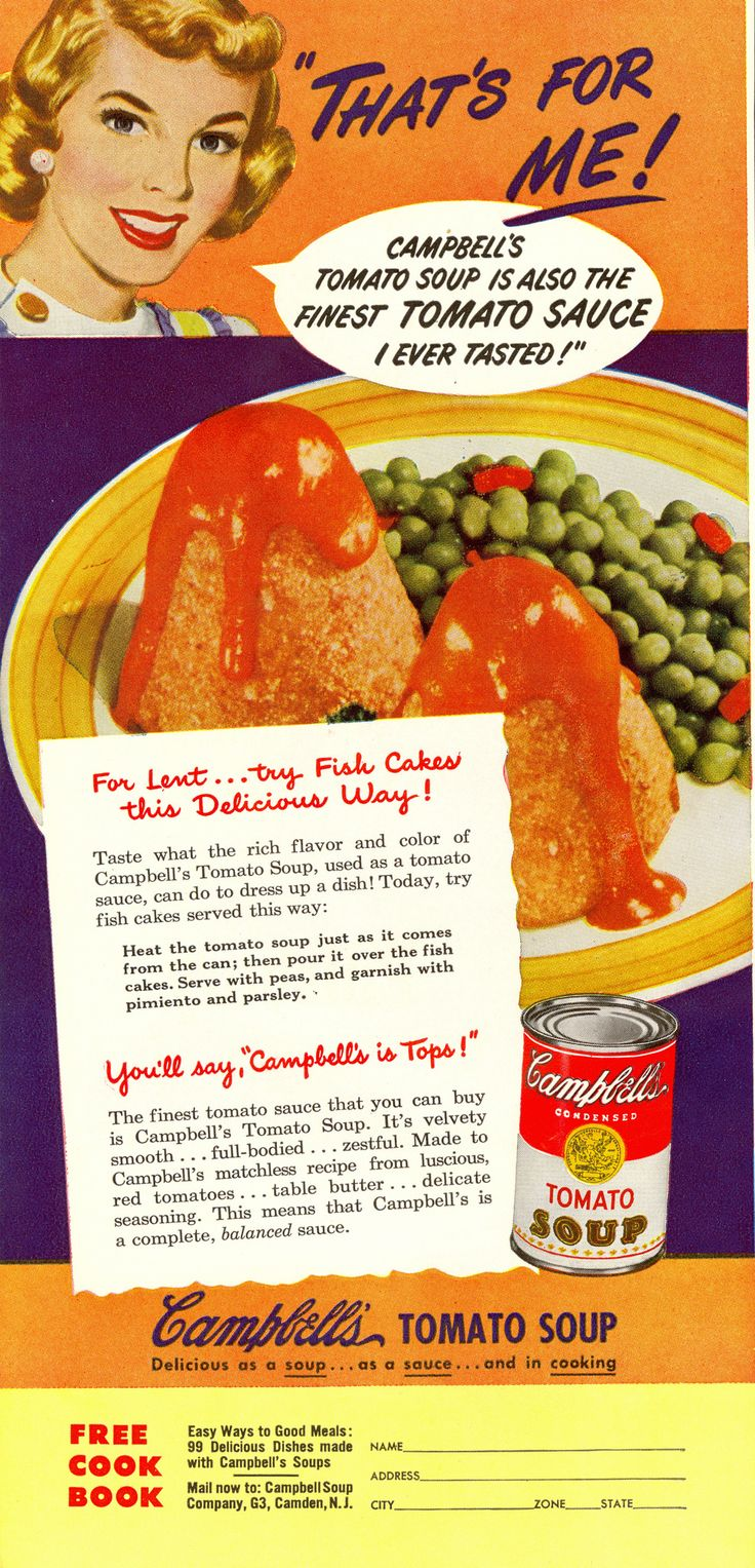 A can of tomato soup dumped on top of fish cakes, canned peas, pimento, and parsley.  That's For Me!   (Good Housekeeping, 1950)