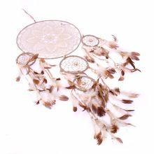 Encaje Círculo de Cinco anillos de Flores de Plumas Dreamcatcher Dream Catcher Net Colgante Home Pared Decoración de Coches Adornos Artesanales Atrapasueños(China)