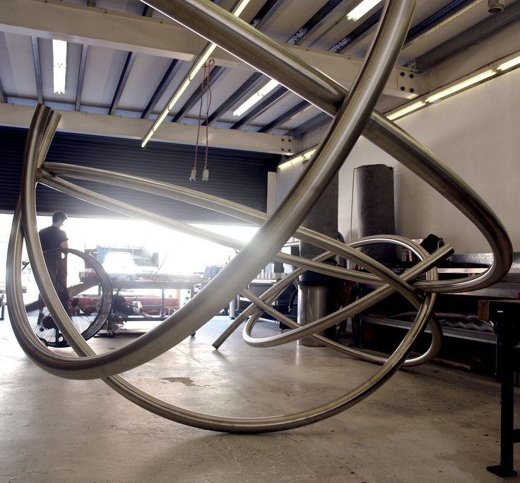 KORBAN/FLAUBERT: CATALYST, stainless steel tube sculpture at KF metal workshop