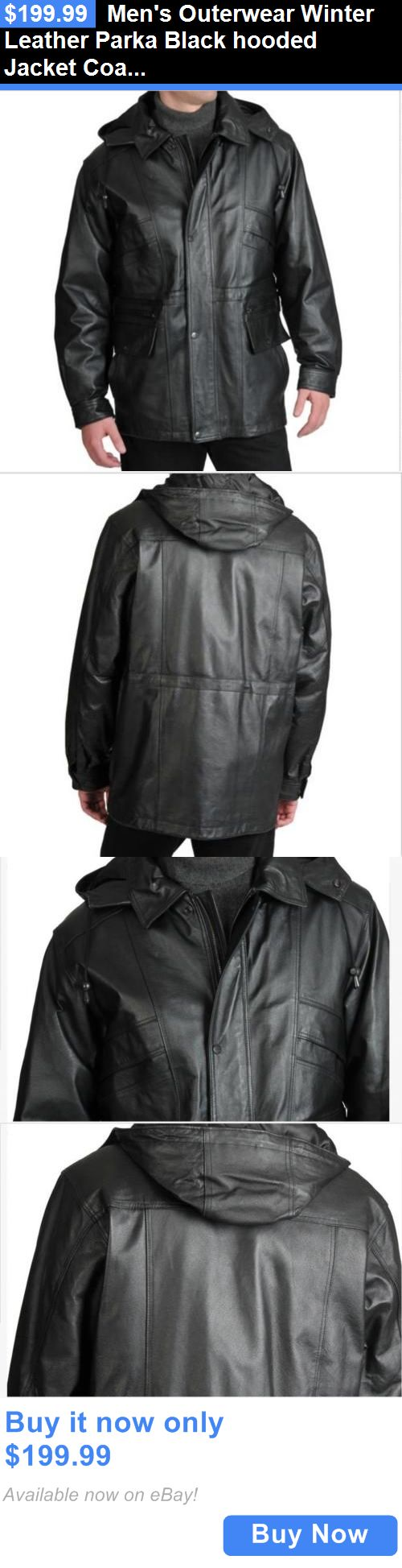 Men Coats And Jackets: Mens Outerwear Winter Leather Parka Black Hooded Jacket Coat Tag Size M And Fit L BUY IT NOW ONLY: $199.99