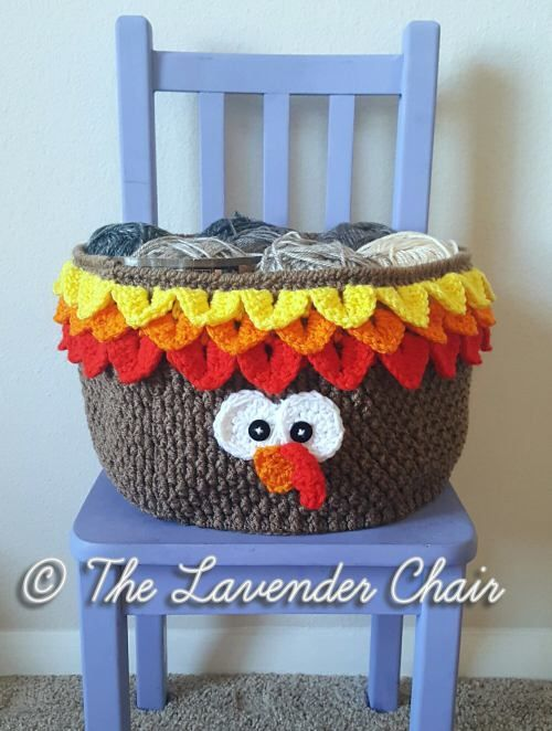 Free Crochet Pattern FOR THE CUTEST DARN TURKEY! Sorry I was excited - this is so so so cute!  Free Pattern from The Lavender Chair! Turkey Yarn Basket