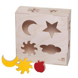 Lockable box with cut-out shapes of weather phenomena and 12 items matching the holes in the box. Educational toy that develops visual-motor coordination and teaches children words used to describe the weather. Made by Neo-Spiro.