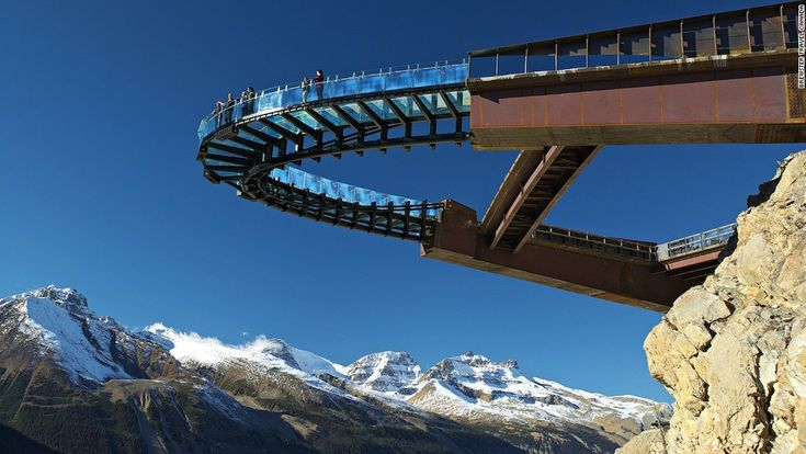 Canada's stunning new Glacier Skywalk pops 35 meters out the side of a cliff in Alberta's Jasper National Park. The glass-floored observation walkway hangs 280 meters above Sunwapta Canyon.