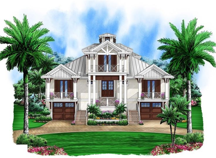 Key west style elevation w two garages underneath house for Key west style house plans
