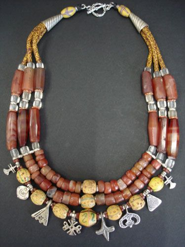 Antique Carnelian & African Trade Bead Necklace