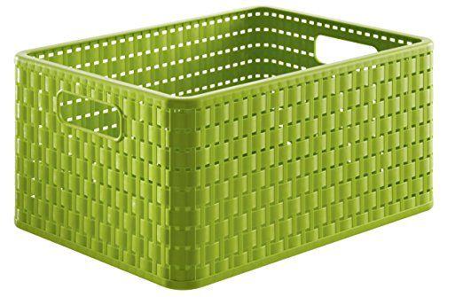 Rotho 1115305519 Aufbewahrungskiste Dekobox Country in Rattan-Optik aus Kunststoff (PP), Format A4, Inhalt ca. 18 l, ca. 36.8 x 27.8 x 19.1 cm (LxBxH), grün