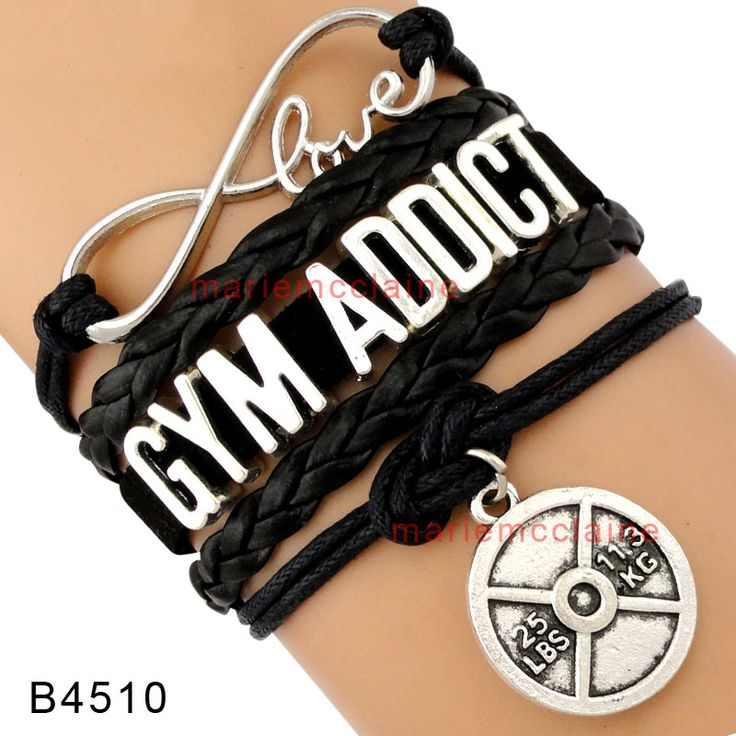 (10 Pieces/Lot) Infinity Love Gym Addict Barbell Charm Wrap Bracelet Black Suede Leather Women's Fashion Fitness Bracelet