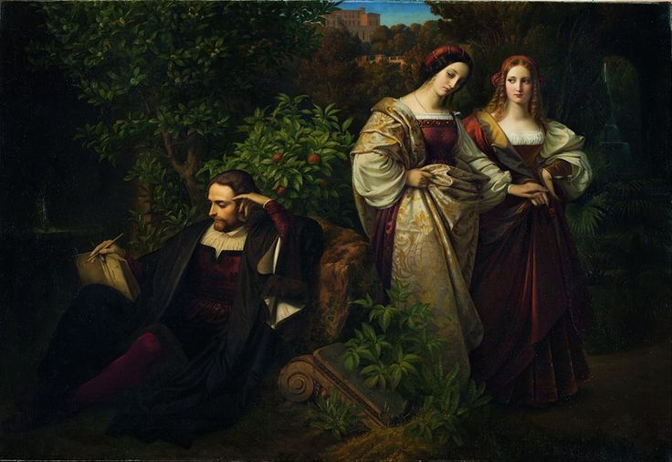 Karl Ferdinand Sohn (Alemania, 1805-1867) - Torquato Tasso y las dos Leonores, 1839. Óleo sobre lienzo, 175.8 x 255.5 cm (Museo Kunstpalast - Düsseldorf, Alemania)