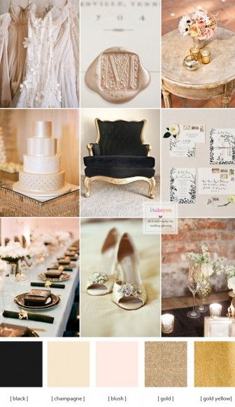 Champagne and black wedding theme for a luxurious wedding | itakeyou.co.uk
