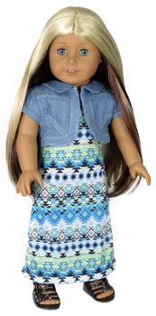 Denim Shrug and Tribal Maxi Dress