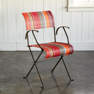 french bistro chairs:  Fermob outdoor furniture graces the Luxembourg Gardens and fine cafes worldwide. Treat your patio to its redesigned classic bistro chair made with striped weatherproof webbing, a patented folding system and a back-friendly design. Made in France.