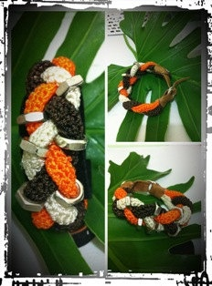 Leather and crochet bracelet by handmadebyputu on Etsy, $88.00