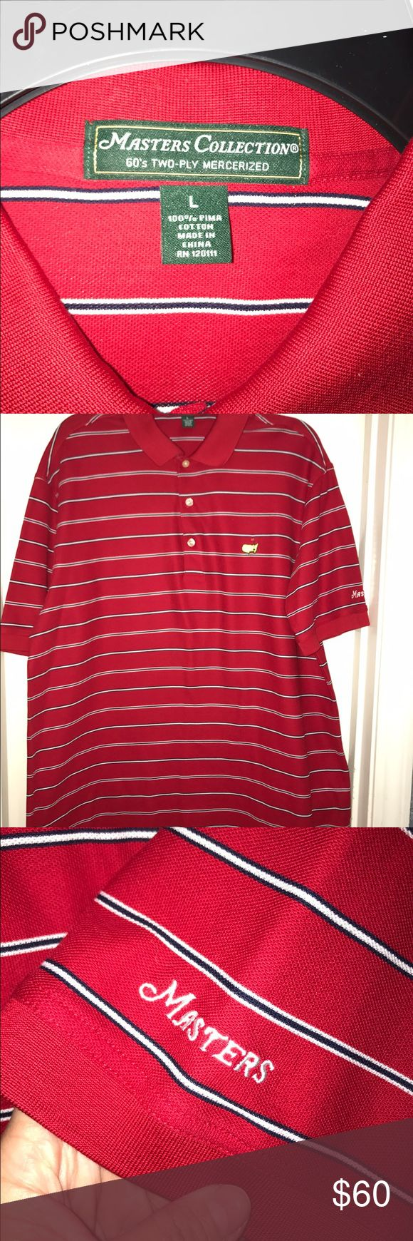 """🌺SALE🌺NWOT-💙MASTERS COLLECTION💙Men's Polo NWOT 💙MASTERS COLLECTION💙 Men's red button-up with blue & white stripes Polo Shirt. Size- Large. 100% Pima Cotton. Vented on the sides. Only able to purchase new at a """" Masters Golf Game"""" for $120. Masters Collection Shirts Polos"""