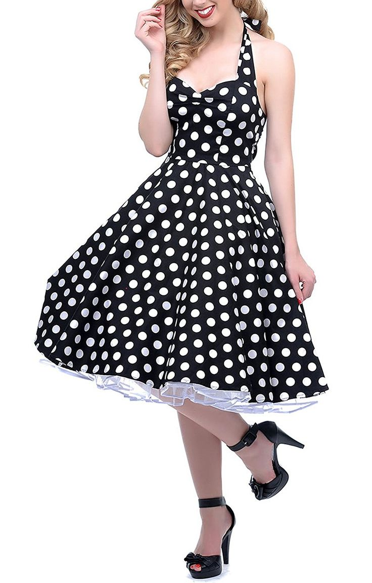 BI.TENCON 1950s Halter Style Vintage Polka Dot Swing Party Dress at Amazon Women's Clothing store:  https://www.amazon.com/gp/product/B00VSNFH9M/ref=as_li_qf_sp_asin_il_tl?ie=UTF8&tag=rockaclothsto-20&camp=1789&creative=9325&linkCode=as2&creativeASIN=B00VSNFH9M&linkId=0d9c270c63e05d4980b6832435deccfe