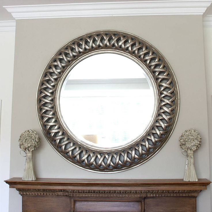 Large Round Silver Mirror Part - 47: Grand Champagne Silver Weave Round Mirror