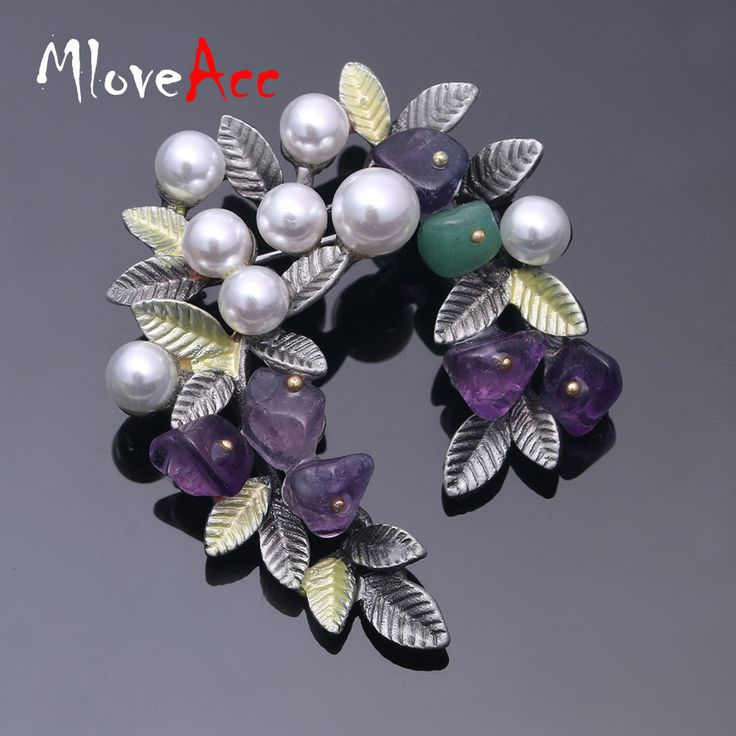 MloveAcc Colorful Natural Stone Leaf Brooches Pins Vintage Style Imitation Pearl Big Women Brooch Wedding Accessories Jewelry //Price: $17.96 & FREE Shipping //     #hashtag4