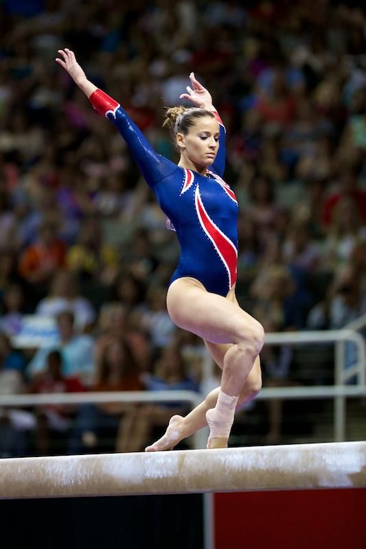 Alicia Sacramone on beam at the 2012 US Olympic Team Trials