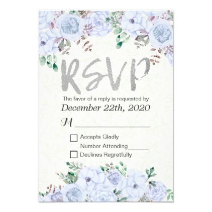 Wedding RSVP Reply Elegant Floral & Silver Script Card - wedding invitations diy cyo special idea personalize card